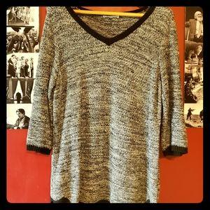 Black and White 3/4 Sleeve Sweater